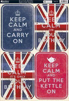Kanban Cool Britannia die cut toppers - Keep Calm Birthday