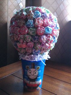 1 Dum Dum centerpiece available for jungle animals, thomas the train, angry birds or jake and the neverland pirates on Etsy, $20.00