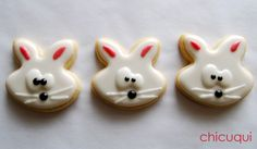 galletas decoradas conejitos de Pascua Decorated cookies Easter bunny chicuqui.com