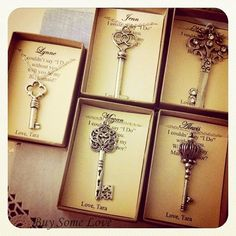 wedding party gifts- silver key necklace with personalized note card jewelry box.