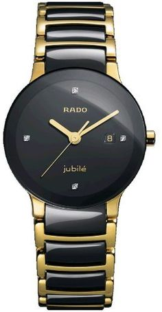Rado Women's R30930712 Centric Jubile Two Tone Black Ceramic Bracelet Watch Rado. $1149.00. Durable sapphire crystal protects watch from scratches. Water-resistant to 99 feet (30 m). Quartz movement. Gold-tone stainless steel case. Case diameter: 31.1 mm