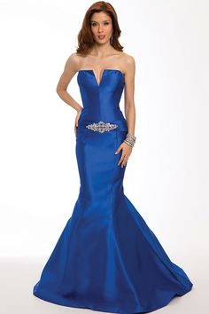 2015 Evening Dress Strapless Mermaid/Trumpet Satin Beaded And Ruffled