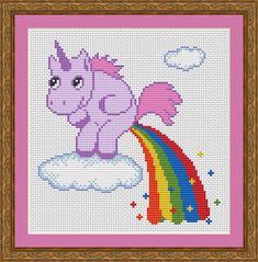 Funny Cross Stitch PDF Pattern Unicorn Pooping Rainbow