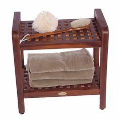 "Amazon.com - 18"" Teak Grate Stool with Shelf with Lift Aide Arms- For shower, bath, sauna, living, or outdoors - Shower And Bath Safety Seat..."