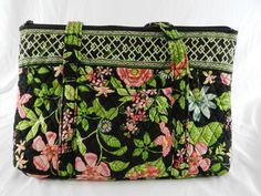 Vera Bradley Village Botanica Tote Bag Black Floral Prink Green Inside EUC   VeraBradley  TotesShoppers aa9f807053fd5