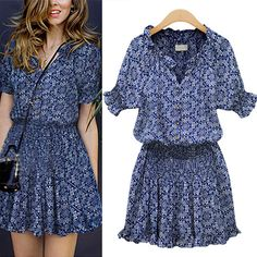 9$ Free shipping in 2015 selling fashionable woman v-neck sleeve summer dress color printing chiffon dress Blue color S-XL
