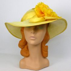 Yellow Kentucky Derby Straw Sun Hat Hand by NouveauHatsbySharon Derby Hats  For Sale 6b1079041607