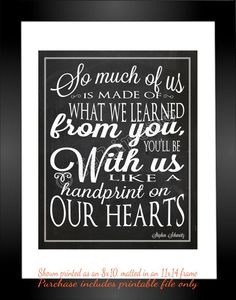 "Wicked Quote - Handprint on My Heart ""For Good"" INSTANT DOWNLOAD Printable Farewell Graduation Moving Friendship Friend Gift Wall Art by Jalipeno on Etsy https://www.etsy.com/listing/164584903/wicked-quote-handprint-on-my-heart-for"