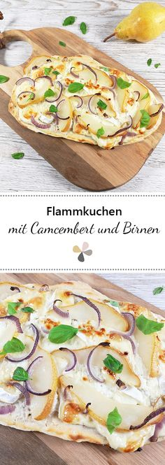 Quick and easy recipe for a vegetarian tarte flambée with Camember . - Quick and easy recipe for a vegetarian tarte flambée with camembert, pears and red onions Quick an - Gluten Free Snacks, Healthy Snacks, Easy Cookie Recipes, Snack Recipes, Fingers Food, Vegetarian Recipes, Healthy Recipes, Eating Habits, Quick Easy Meals