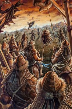 Genghis Khan, Advance by In Kyung Chah Historical Art, Historical Pictures, Genghis Khan, Classical Antiquity, Viking Warrior, Medieval Fantasy, Military History, Ancient History, Samurai