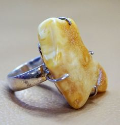 Handmade Amber Ring Catherine Gold plated Butterscotch 925 Sterling Silver