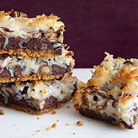 Mexican Magic Bars - 1 1/3 cups crushed graham crackers 1 stick butter, melted 1 1/2 cups chocolate chips 1/2 teaspoon ground cinnamon 1 cup pecans 1 1/2 cups unsweetened coconut flakes 14 ounce can sweetened condensed milk