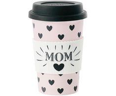 Coffee-to-go-Becher Mom, Rosa, Weiß, Schwarz