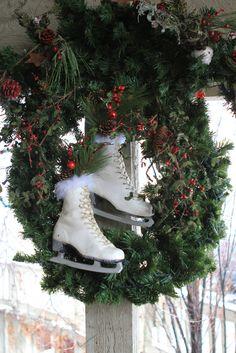 Love the Ice Skate wreath.
