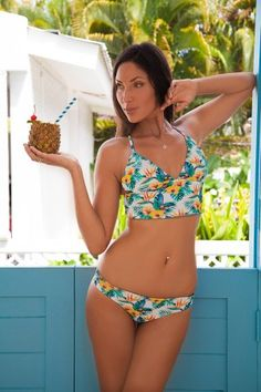 Tiki Orchids Surf-Yoga Reversible Bikini Top
