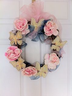 Shabby Pink Roses and Yellow Butterfly Wreath by WreathDiva, $39.00