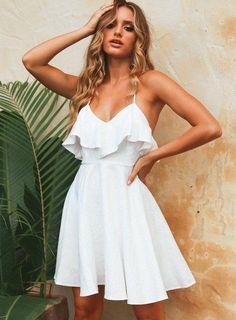 Petite Summer Dresses, Summer Dresses For Wedding Guest, Sexy Summer Dresses, White Dress Summer, Sexy Dresses, Short Dresses, White Sundress, Wedding Dresses, Pretty Dresses