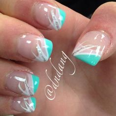 White And Teal Nail Art decoration ideas  picture 7599