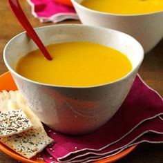 I add a little ginger and sage to this creamy butternut squash apple soup. My family loves it when autumn rolls around. —Crystal Ralph-Haughn, Bartlesville, Oklahoma Healthy Soup Recipes, Apple Recipes, Fall Recipes, Cooking Recipes, Sunday Recipes, Veg Recipes, Healthy Meals, Butternut Squash Apple Soup, Squash Soup