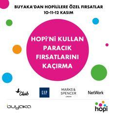 Buyaka' da Hopililere özel kampanyalar sizleri bekliyor. 10 – 11 - 12 Kasım tarihlerinde yapacağınız alışverişlerde Buyaka'lılara özel paracık fırsatlarını kaçırmayın. #BuyakaBiBaşka #Hopi #Paracık #Fırsat #BuyakaAvm