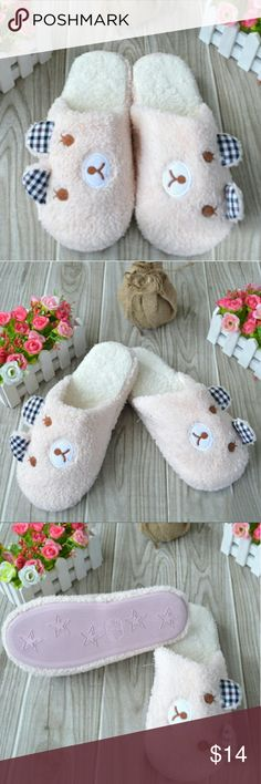 Pink teddy bear slippers Super Cute pink tedfy bear soft slippers Shoes Slippers