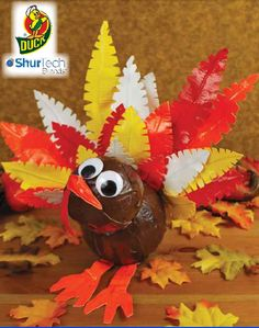Duck Tape® Turkey  #thanksgiving #craft #ducktape