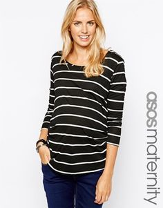 Enlarge ASOS Maternity Exclusive Breton Stripe Top With Long Sleeve And Scoop Neck