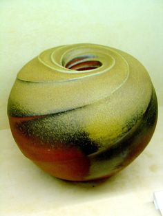 "Made by M.Wein , in Shigaraki residency 13"" Anagama fired Bizen clay. Clement Tung."
