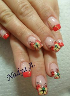 ❤️the red color Butterfly Nail Designs, Green Nail Designs, Toe Nail Designs, Nail Polish Designs, Rhinestone Nails, Bling Nails, Fancy Nails, Pretty Nails, Uñas One Stroke