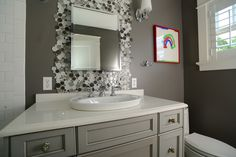 bathrooms with gray tiles and painted walls in them - Google Search