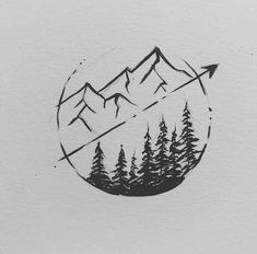 Simple Yet Awesome Mountain and Arrow Tattoo Sketch by Sarah Hernandez Black And Grey Tattoos For Men, Black Tattoos, Gray Tattoo, Ankle Tattoos, Cute Tattoos, Small Tattoos, Tattoos For Guys, Tatoos, Arrow Tattoos