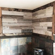Approximately 20 SF of Weekend Walls Silver Peel and Stick Paneling, $239.00. This customer made a custom wood border to go around their Weekend Walls, which is a unique way to feature this material. A little goes a lot way to transforming your space! DIY home remodels are made easy with peel and stick. #woodwalls #reclaimedwood #peelandstick #stickwalls #peelandstickwood Rustic Kitchen Design, Rustic Design, Kitchen Designs, Modern Design, Rustic Wood Walls, Weathered Wood, Wood Paneling Makeover, Peel And Stick Wood, Weekend Projects