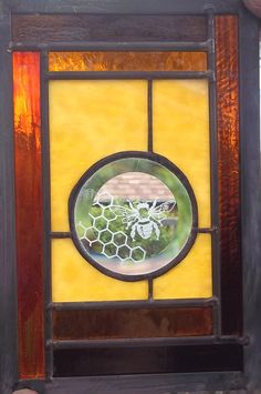 Honey Bee and Hive Stained Glass Window Panel