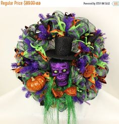 On Sale Happy Halloween Trick Or Treat Featuring Voodoo Doctor Deco Mesh Wreath by Crazyboutdeco on Etsy