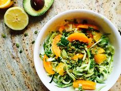Summer Citrus Zucchini Noodles with Avocado & Apricot