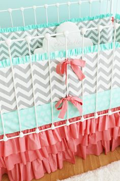 Gray Chevron Baby Bedding, Custom Baby Girl Bedding Set Featuring Mint And Coral…