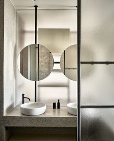 Popular architects, K-Studio, designed Dexamenes Seaside Hotel, a luxury resort - located in Western Peloponnese - that was once used as a wine factory. Bathroom Collections, Interior, Hotel, Bathroom Red, Seaside Hotel, Apartment Renovation, Marble Sinks, Bathroom Design, Bathroom Decor