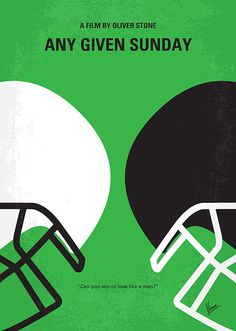No420 My ANY GIVEN SUNDAY minimal movie poster  A behind-the-scenes look at the life-and-death struggles of modern-day gladiators and those who lead them.  Director: Oliver Stone Stars: Al Pacino, Dennis Quaid, Cameron Diaz