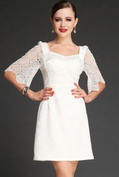 White Hollow Half Sleeve Backless Bodycon Dress - Sheinside.com