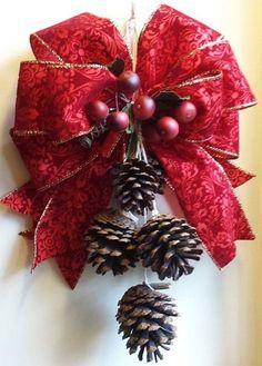 Christmas Christmas door swag Christmas wreath by WonderlandTrends Christmas Swags, Noel Christmas, Homemade Christmas, Holiday Wreaths, Rustic Christmas, Christmas Ornaments, Outdoor Christmas, Pine Cone Decorations, Christmas Decorations