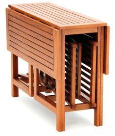 BALKONMÖBEL-Dieses Set lässt sich perfekt verstauen und eignet sich für jeden Balkon oder Terrasse. Platz sparen mal anders!
