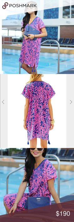"""NWOT Lilly Caftan in """"Did You Catch That"""" Beautiful Lily Pulitzer caftan dress. Never worn.  I LOVE this dress, but I'd too big for me. Vibrant pink & blue pattern with embroidery at collar, on sleeves, and blue tassels on the skirt. Perfection. Lilly Pulitzer Dresses"""