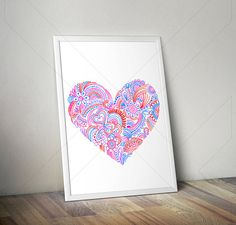 Love Heart Print/ Mandala Poster Art Instant di JFStudioShop