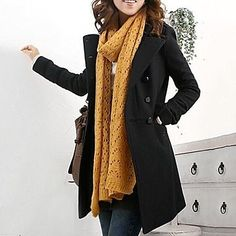 Available in Black  Material: Wool Blend  Size: S, M, L S:Length: 79cm  Across Shoulder: 38cm  Bust: 90cm  Sleeve Length: 56cm  Waist: 82cm  M:Length: 80cm  Across Shoulder: 39cm  Bust: 96cm  Sleeve Length: 57cm  Waist: 84cm  L:Length: 82cm  Across Shoulder: 40cm  Bust: 103cm S...