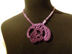 Purple crochet choker necklace, wearable fiber art, unique necklace