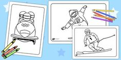 Winter Olympics Colouring Pages - This handy set of colouring sheets gives your children the opportunity to practise their colouring and fine motor skills, as well as giving them something lovely to take home with them or put up on display. Coloring Pages Winter, Sports Coloring Pages, Colouring Pages, Coloring Sheets, Winter Games, Winter Fun, Winter Sports, Olympic Colors, Olympic Idea