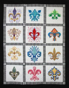 FLEUR DE LIS BUTTERFLY EMBROIDERED SET OF TWO HAND TOWELS NEW by laura