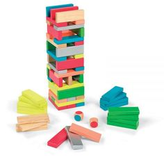 fun idea for the dollar store jenga knock off sets... buy a bunch and paint them. (or just buy these)