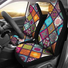 Colorful Mandala Car Seat Covers ( Set Of 2 ) - PinCanada Car Seat Cover Sets, Seat Covers, Dining Room Chairs Ikea, Office Chairs, Chair Photography, Seat Cleaner, Little Elephant, Unique Cars, Mandala Coloring