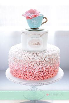 vintage high tea ruffle cake by bake a boo cakes nz beau coup bridal shower tea party